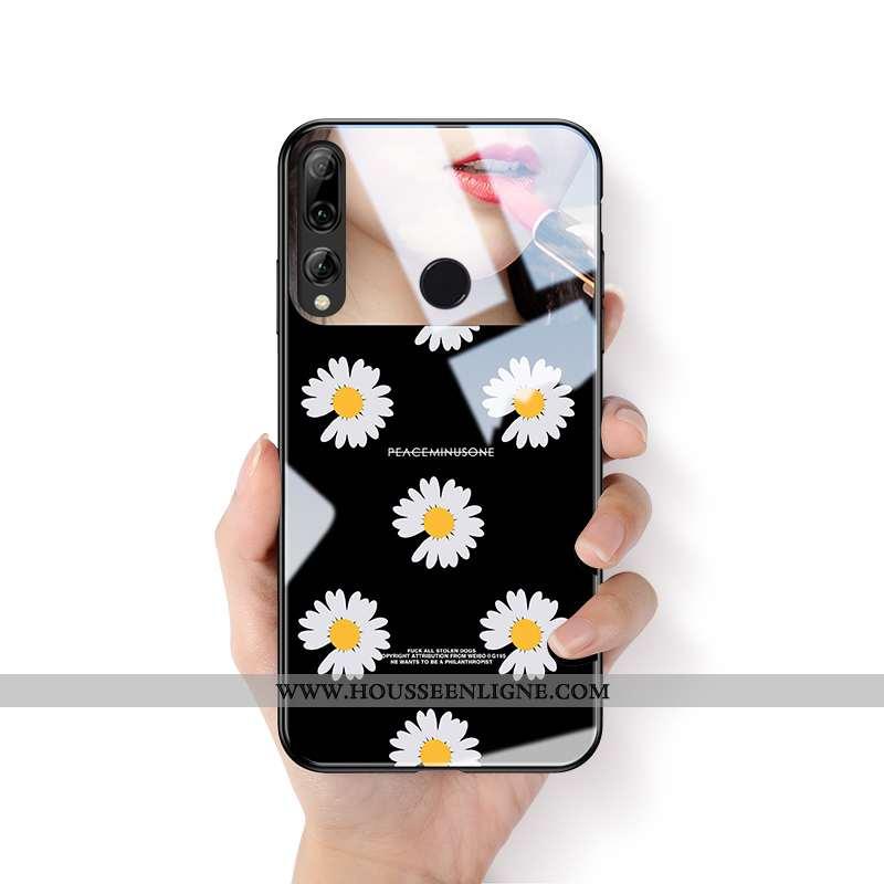 Étui Huawei P Smart+ 2020 Verre Personnalité Noir Créatif Petite Marguerite Tout Compris Téléphone P
