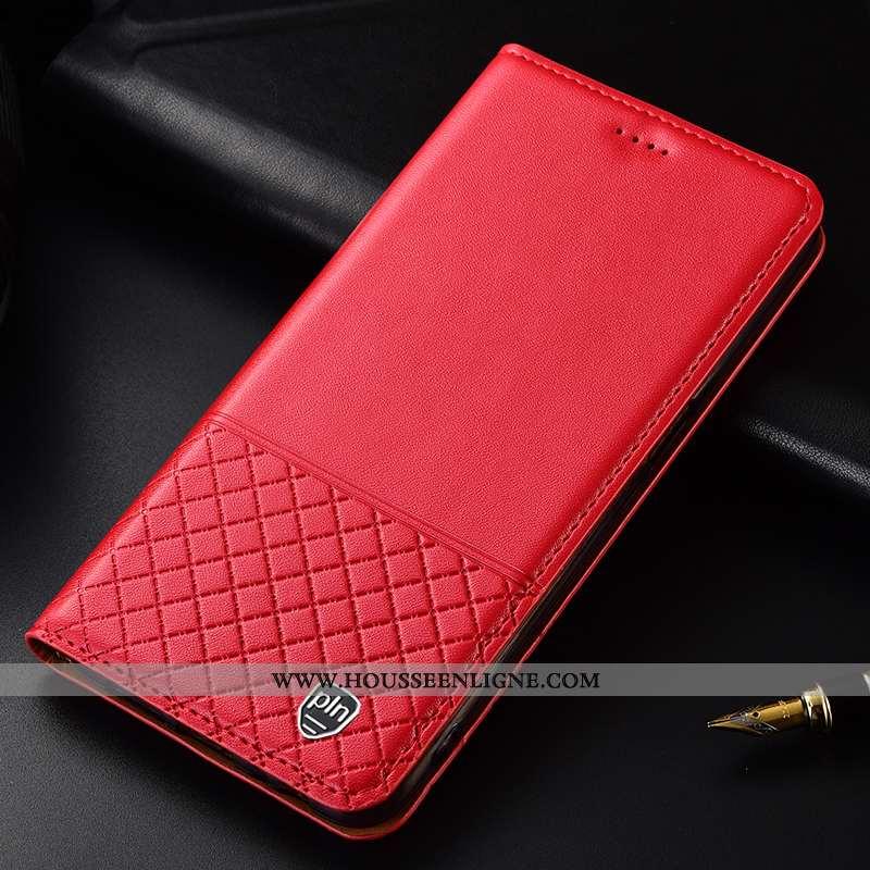 Étui Huawei P Smart Cuir Véritable Cuir Tout Compris Téléphone Portable Plaid Protection 2020 Rouge