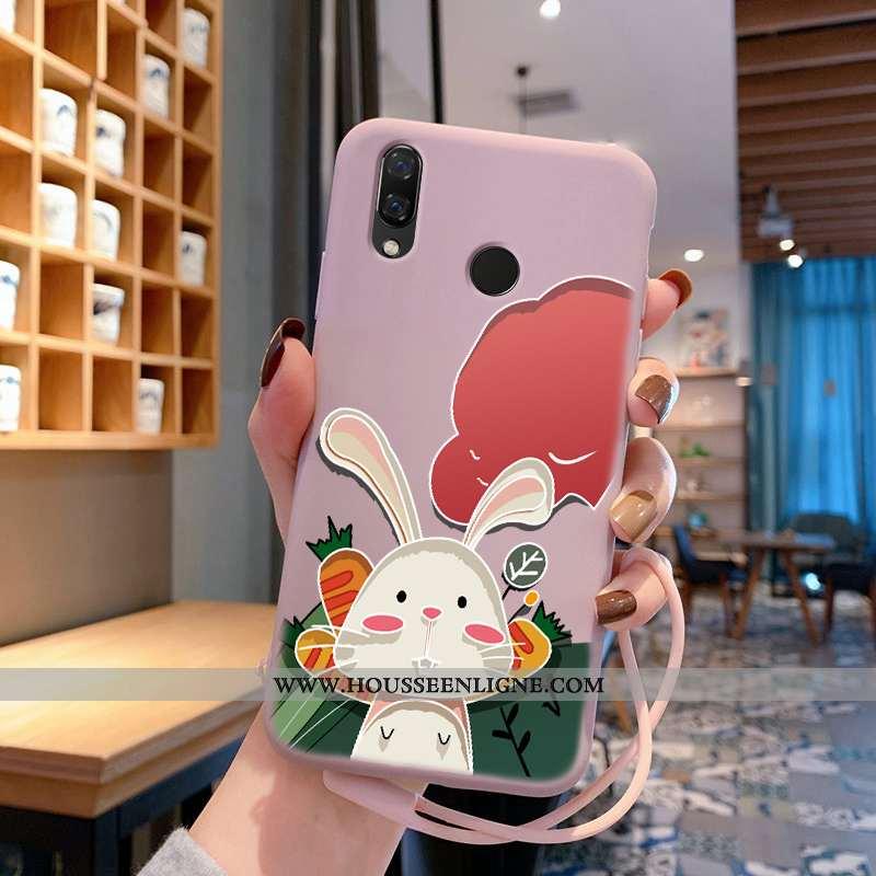 Étui Huawei P Smart+ Dessin Animé Charmant Téléphone Portable Lapin Fluide Doux Rose Silicone