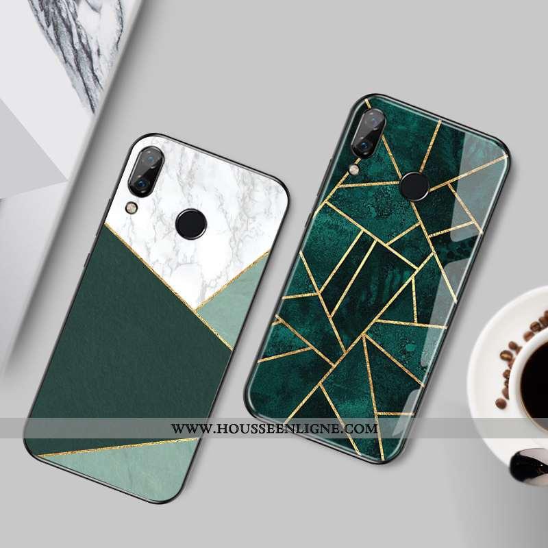 Étui Huawei P Smart+ Personnalité Protection Téléphone Portable Losange Élégant Coque Simple Verte