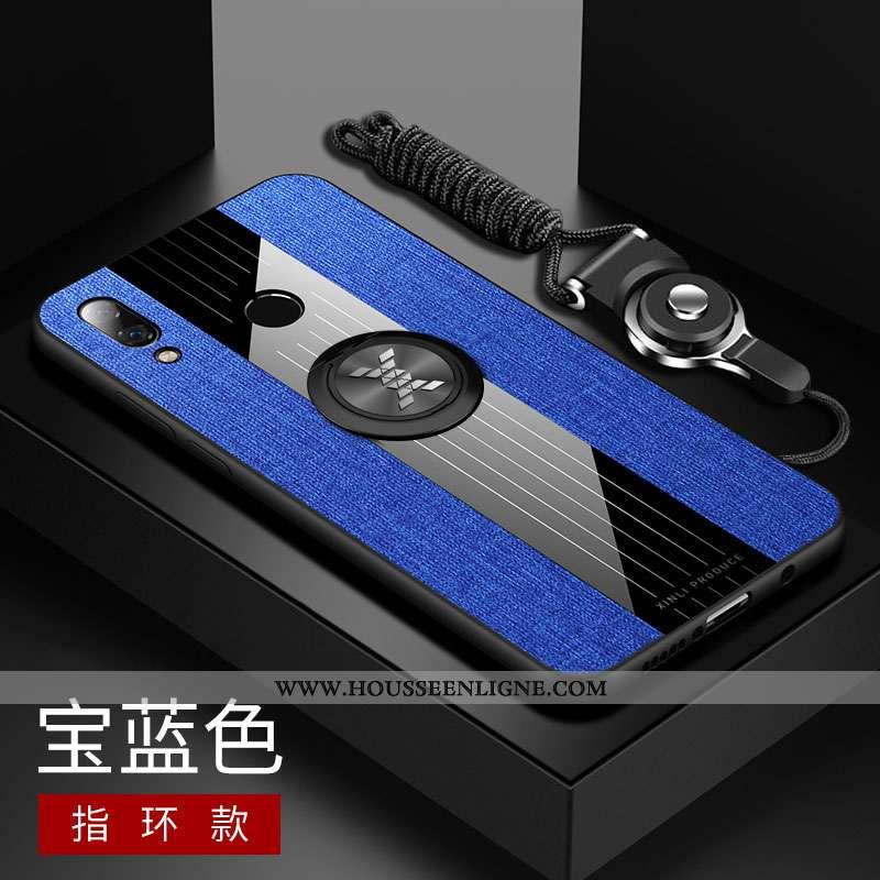 Étui Huawei P Smart+ Tendance Fluide Doux Téléphone Portable Silicone Tout Compris Tissu Bleu