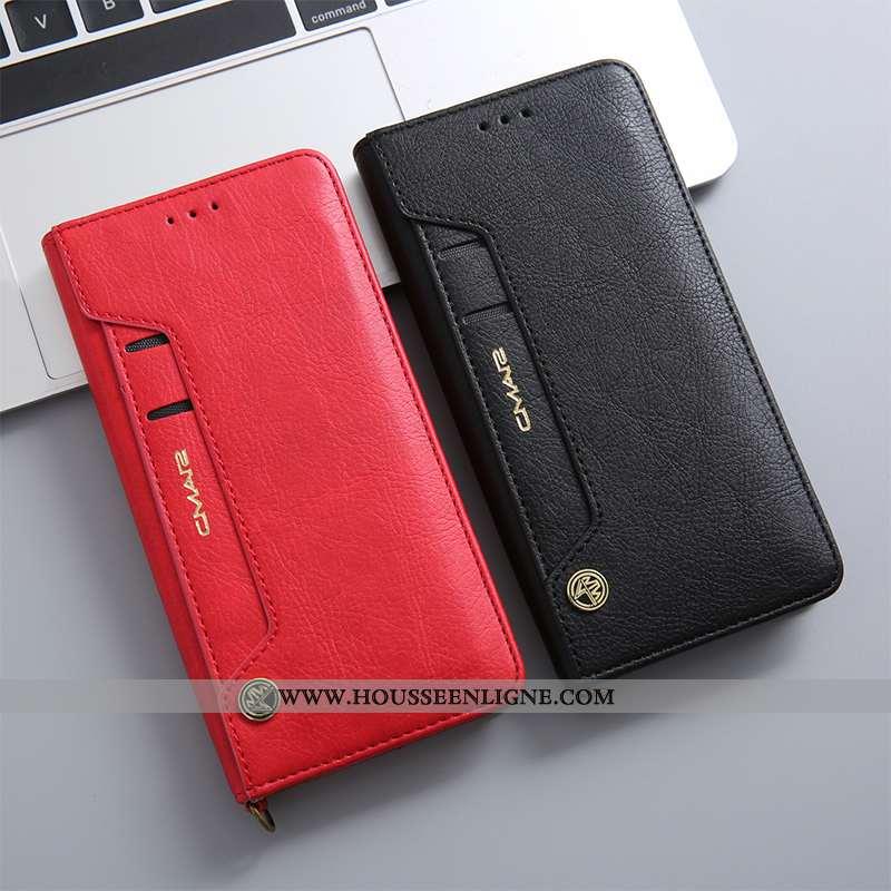 Étui Huawei P20 Cuir Véritable Protection Téléphone Portable Housse Incassable Carte Rouge