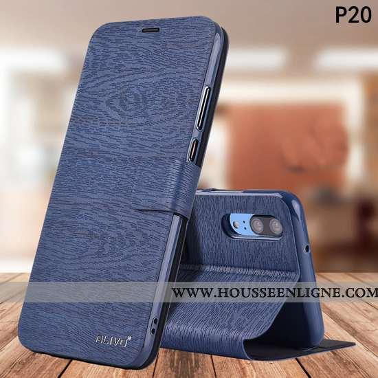 Étui Huawei P20 Fluide Doux Silicone Tout Compris Housse Incassable Protection Bleu Foncé