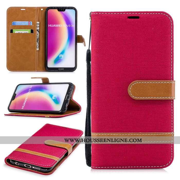 Étui Huawei P20 Lite Cuir Protection Clamshell Rouge Téléphone Portable Incassable