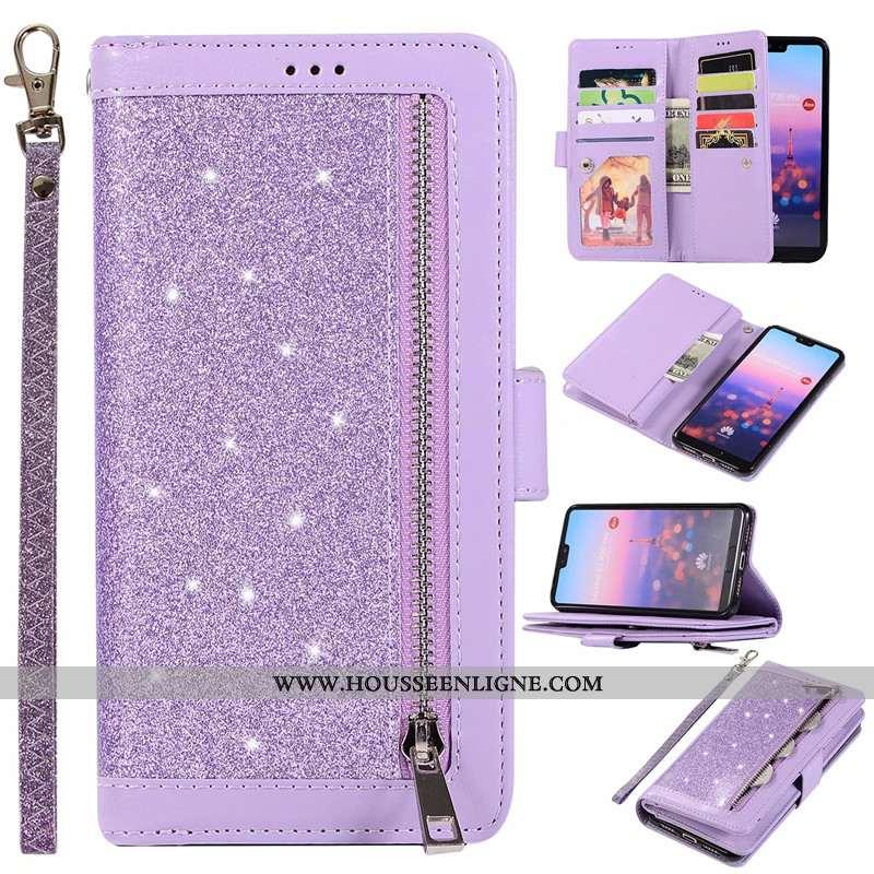 Étui Huawei P20 Lite Portefeuille Fermeture Éclair Rose Violet Cuir Véritable Téléphone Portable