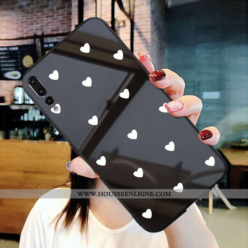 Étui Huawei P20 Pro Créatif Protection Noir Téléphone Portable Miroir Verre
