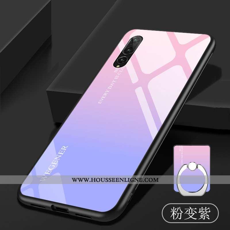 Étui Huawei P20 Pro Fluide Doux Verre Coque Violet Téléphone Portable Dégradé Tempérer