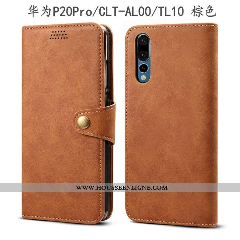 Étui Huawei P20 Pro Protection Cuir Housse Tout Compris Incassable Coque Marron