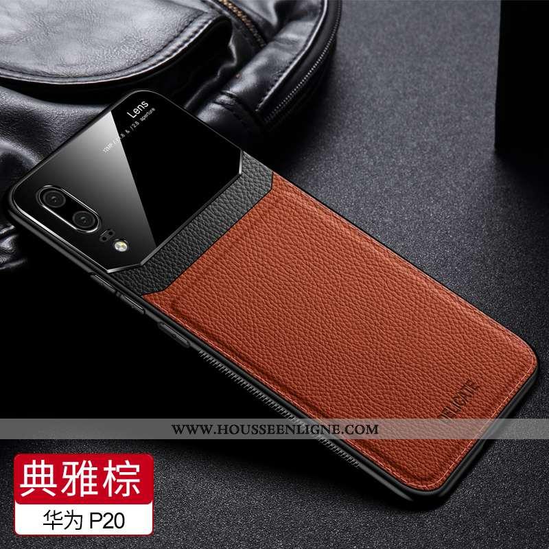 Étui Huawei P20 Tendance Cuir Protection Silicone Tissu Britanique Incassable Marron