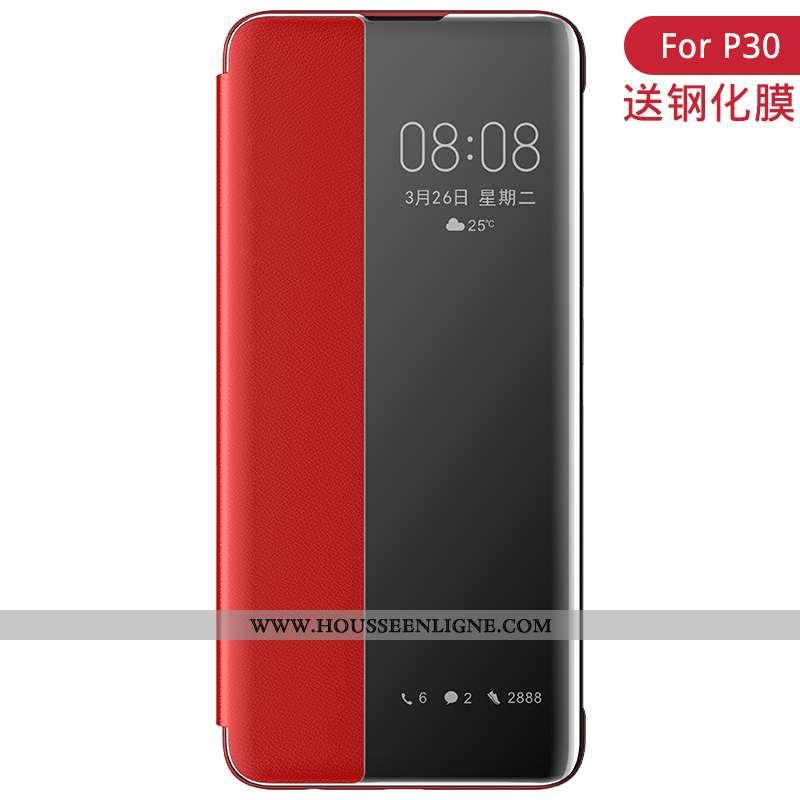 Étui Huawei P30 Cuir Accessoires Clamshell Luxe Rouge Windows