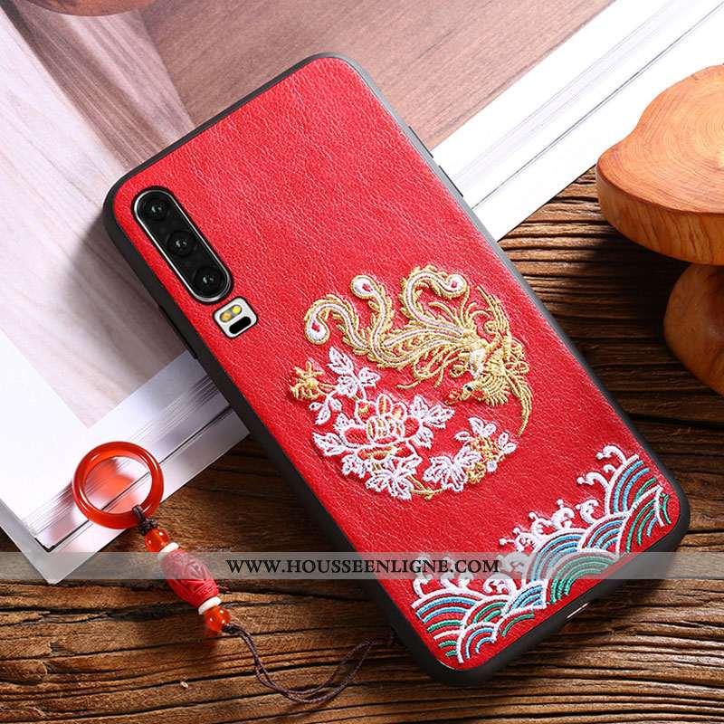 Étui Huawei P30 Gaufrage Vintage Modèle Fleurie Téléphone Portable Qualité Net Rouge Vent