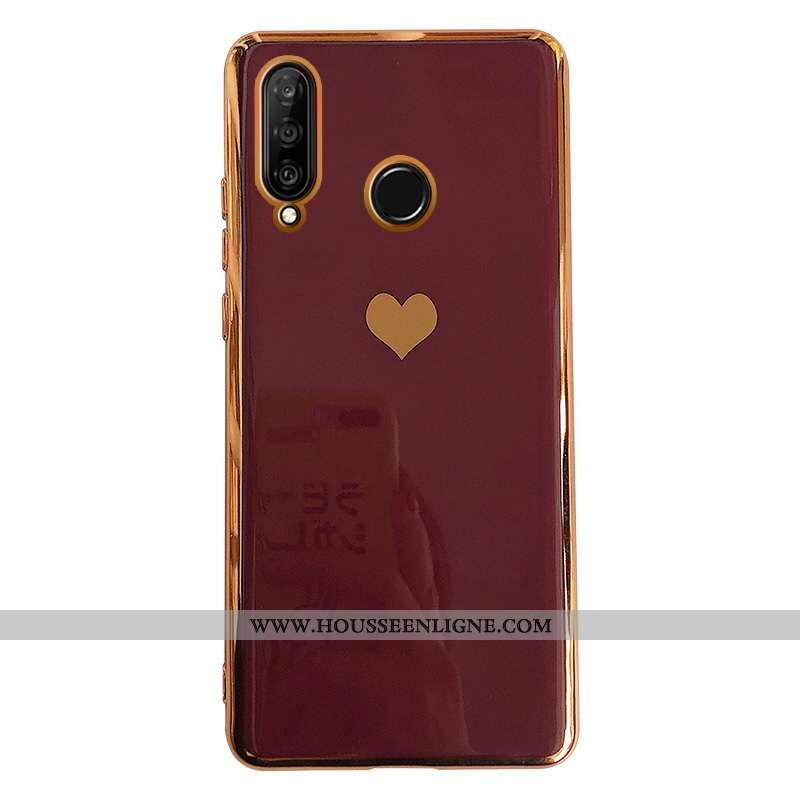 Étui Huawei P30 Lite Créatif Tendance Fluide Doux Amoureux Tout Compris Silicone Amour Bordeaux