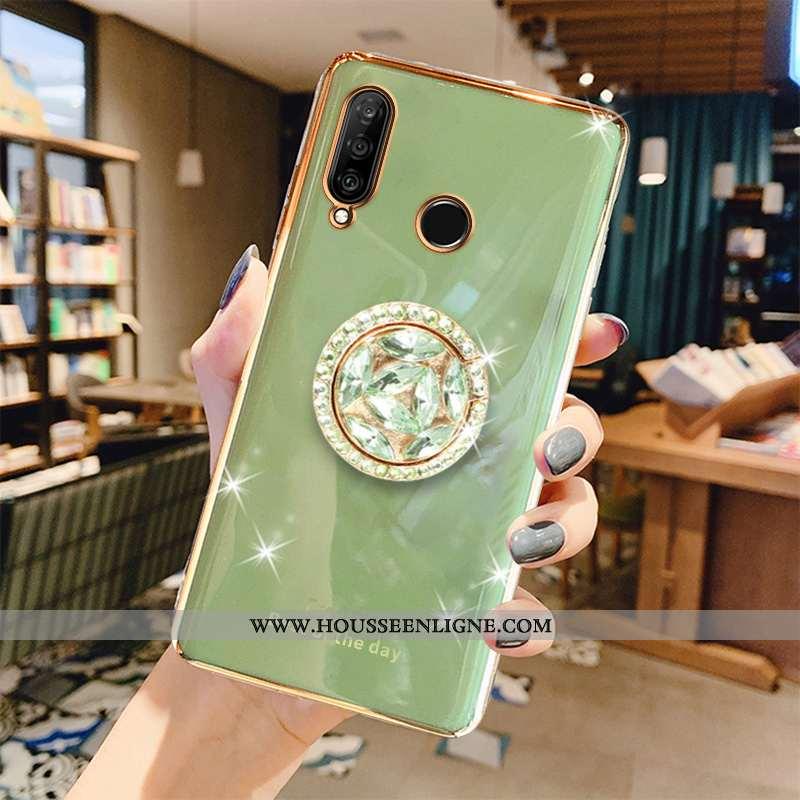 Étui Huawei P30 Lite Fluide Doux Protection Luxe Net Rouge Coque Téléphone Portable Placage Verte