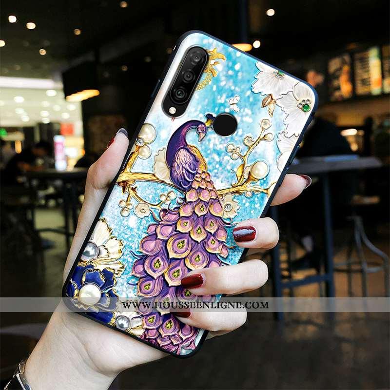 Étui Huawei P30 Lite Protection Délavé En Daim Silicone Gaufrage Vintage Style Chinois Téléphone Por