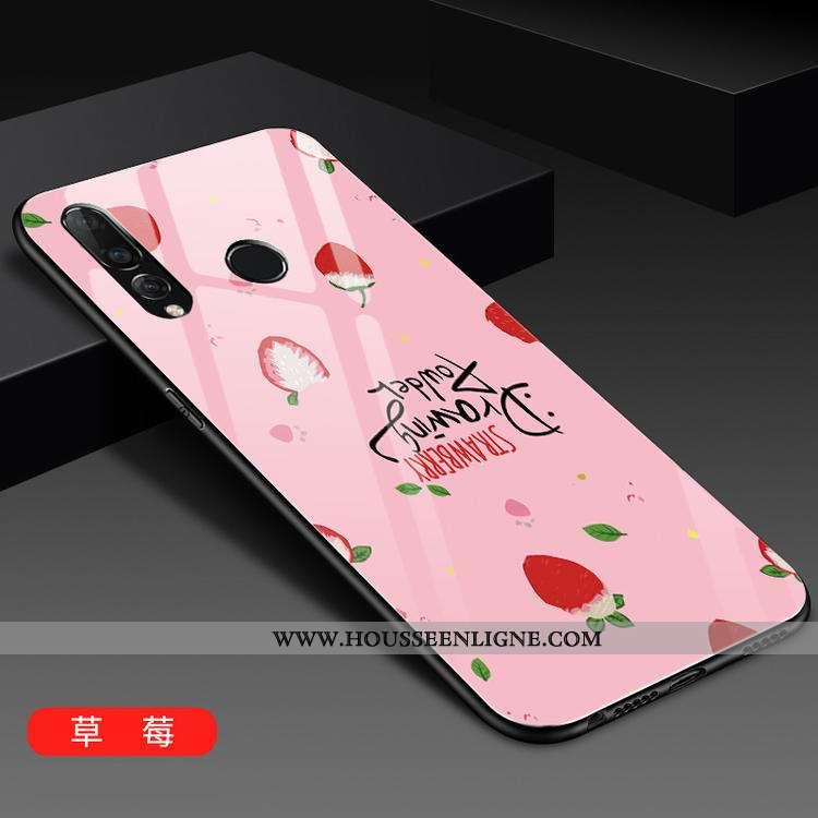 Étui Huawei P30 Lite Silicone Verre Rose Nouveau Personnalité Jeunesse Coque