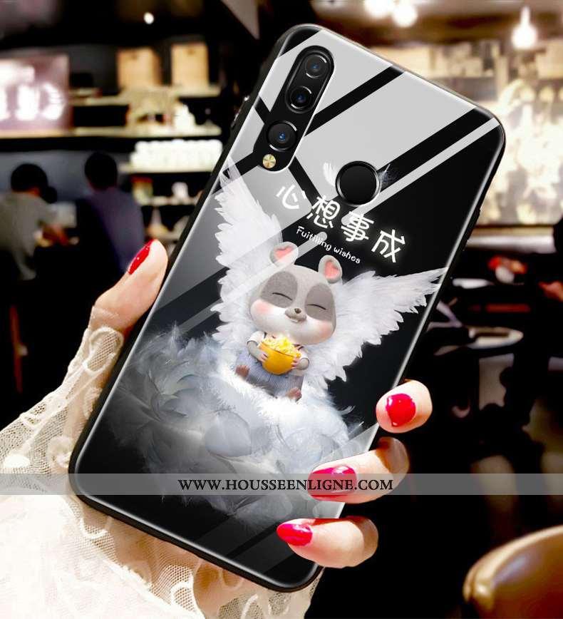 Étui Huawei P30 Lite Xl Fluide Doux Silicone Incassable Amoureux Tendance Verre Noir