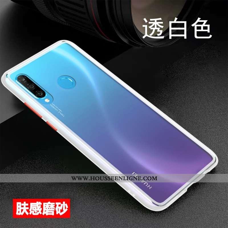 Étui Huawei P30 Lite Xl Personnalité Créatif Protection Incassable Délavé En Daim Coque Légère Blanc