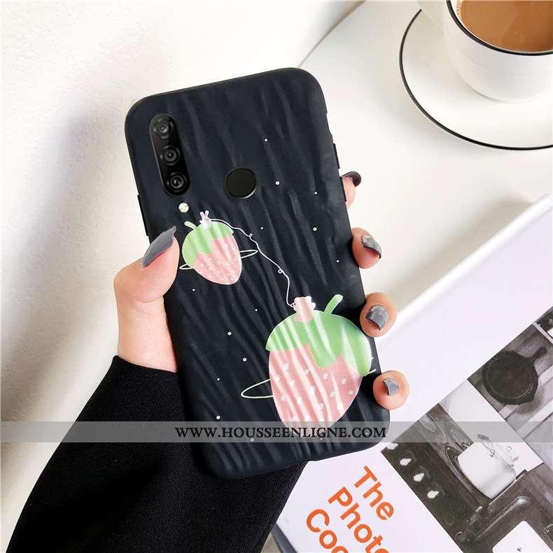 Étui Huawei P30 Lite Xl Protection Personnalité Mode Fluide Doux Une Agrafe Anneau Noir