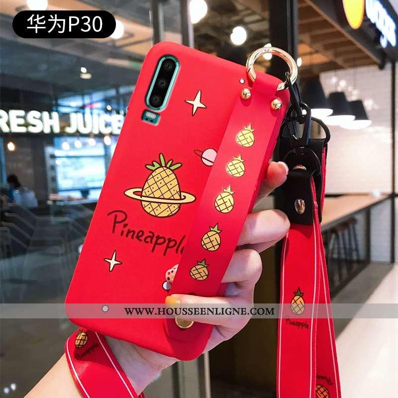 Étui Huawei P30 Personnalité Créatif Rouge Téléphone Portable Cou Suspendu Incassable