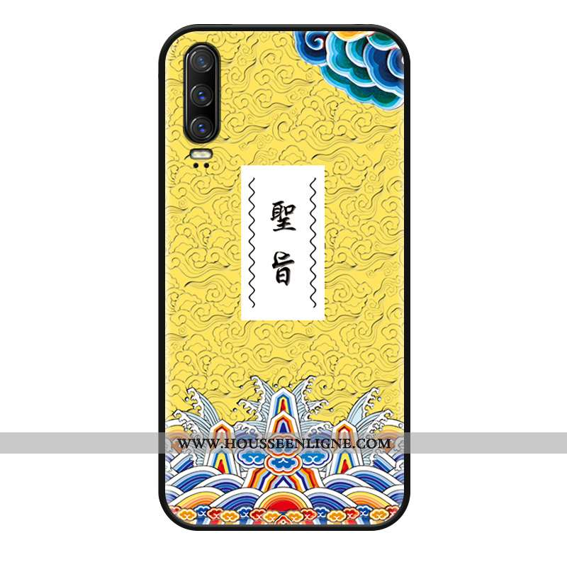 Étui Huawei P30 Personnalité Gaufrage Délavé En Daim Incassable Coque Drôle Jaune