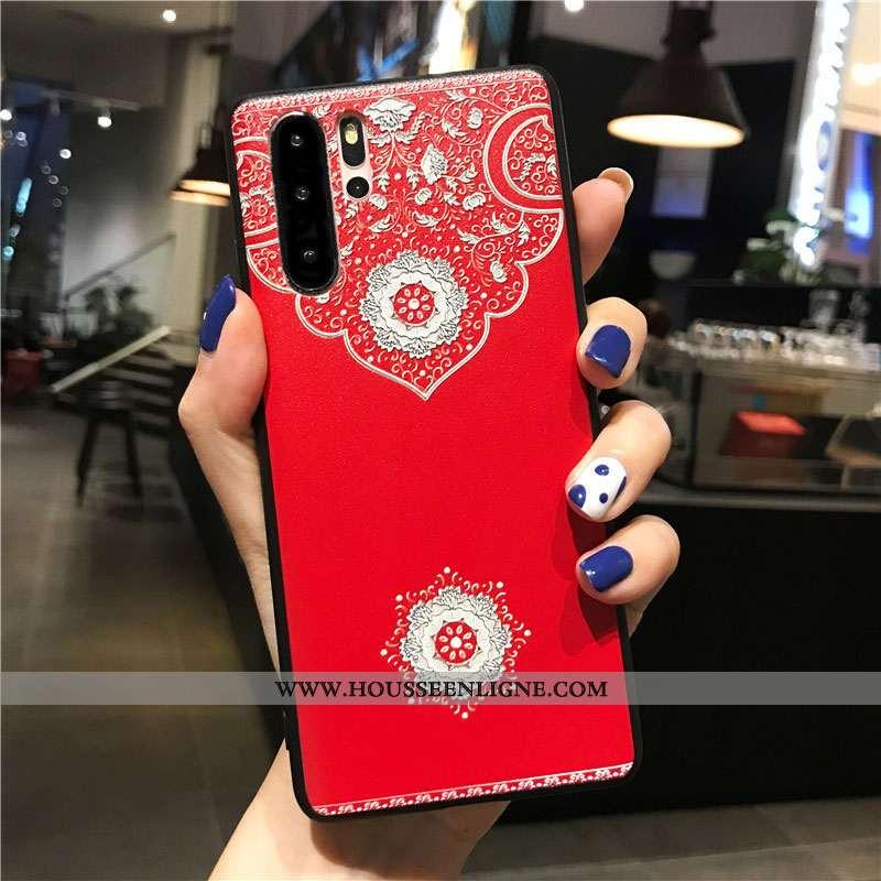 Étui Huawei P30 Pro Délavé En Daim Personnalité Coque Téléphone Portable Gaufrage Style Chinois Flui