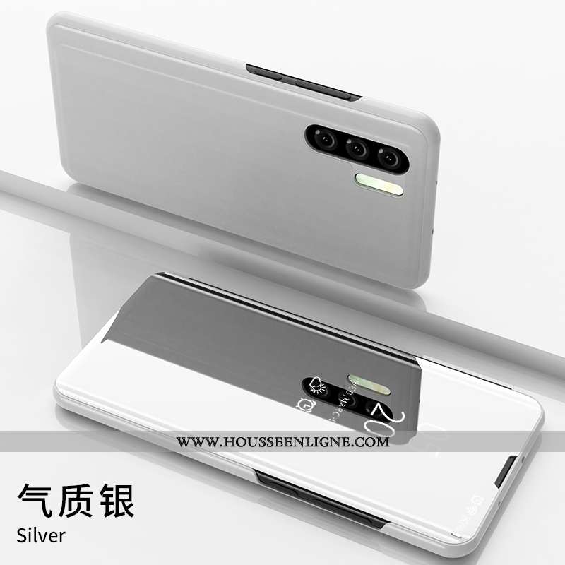 Étui Huawei P30 Pro Tendance Cuir Incassable Protection Coque Argent