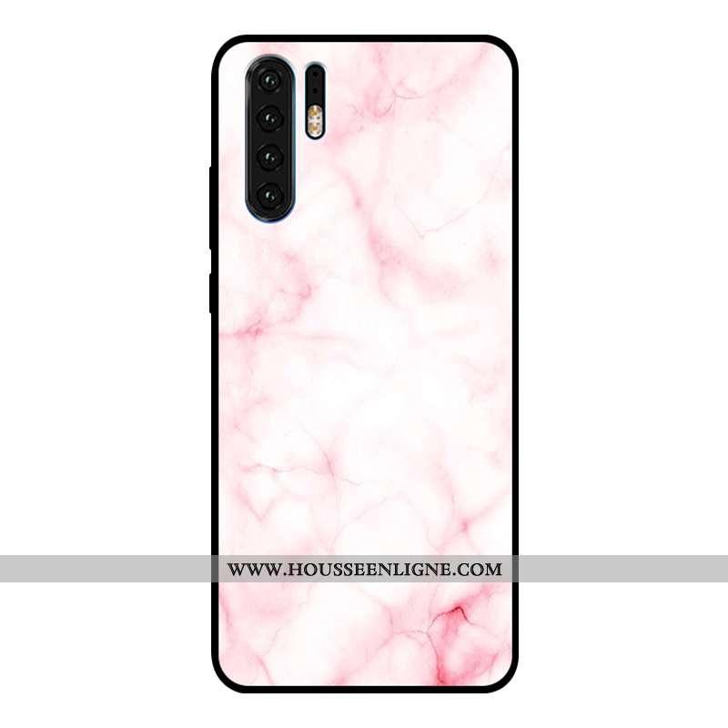 Étui Huawei P30 Pro Verre Personnalité Fluide Doux Coque Silicone Rose Créatif