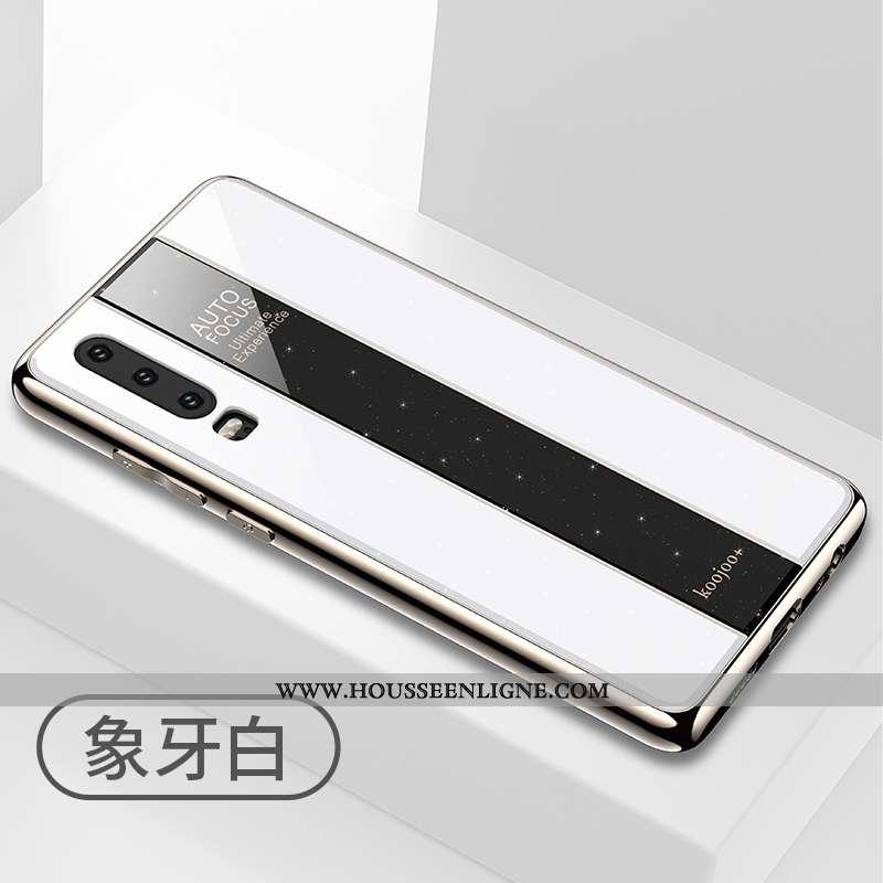 Étui Huawei P30 Protection Fluide Doux Coque Téléphone Portable Incassable Miroir Tout Compris Blanc