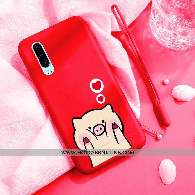 Étui Huawei P30 Tendance Légère Coque Personnalité Mode Petit Téléphone Portable Rouge