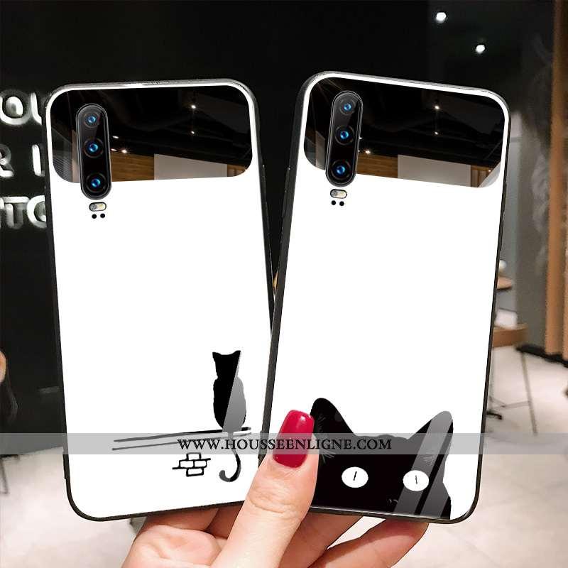 Étui Huawei P30 Verre Tendance Net Rouge Chat Simple Blanc Téléphone Portable Blanche