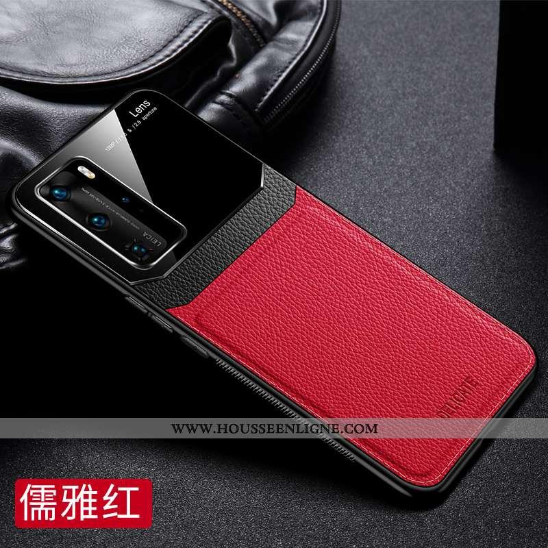 Étui Huawei P40 Cuir Protection Nouveau Légère Luxe Luxe Rouge
