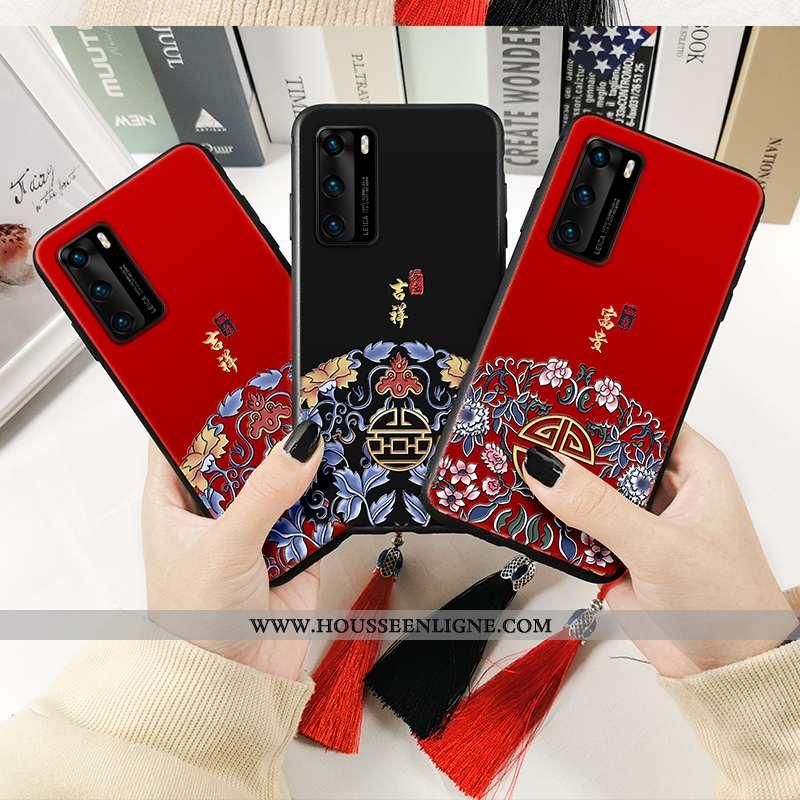 Étui Huawei P40 Fluide Doux Protection Téléphone Portable Coque Rouge