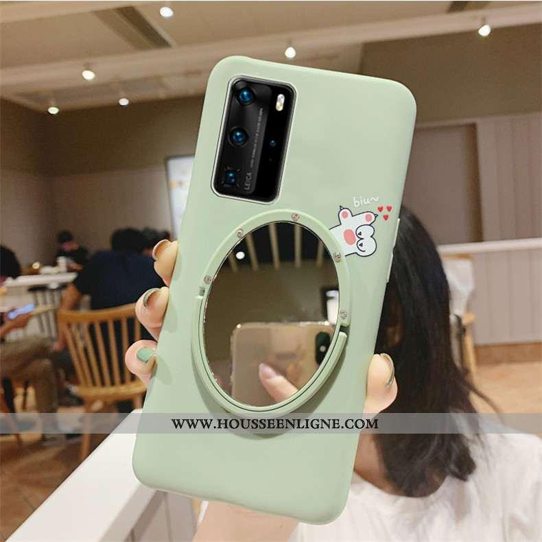 Étui Huawei P40 Fluide Doux Silicone Incassable Téléphone Portable Personnalité Support Mode Verte