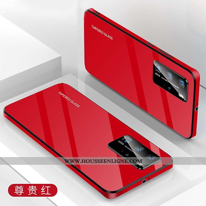 Étui Huawei P40 Légère Silicone Rouge Simple Net Rouge Téléphone Portable