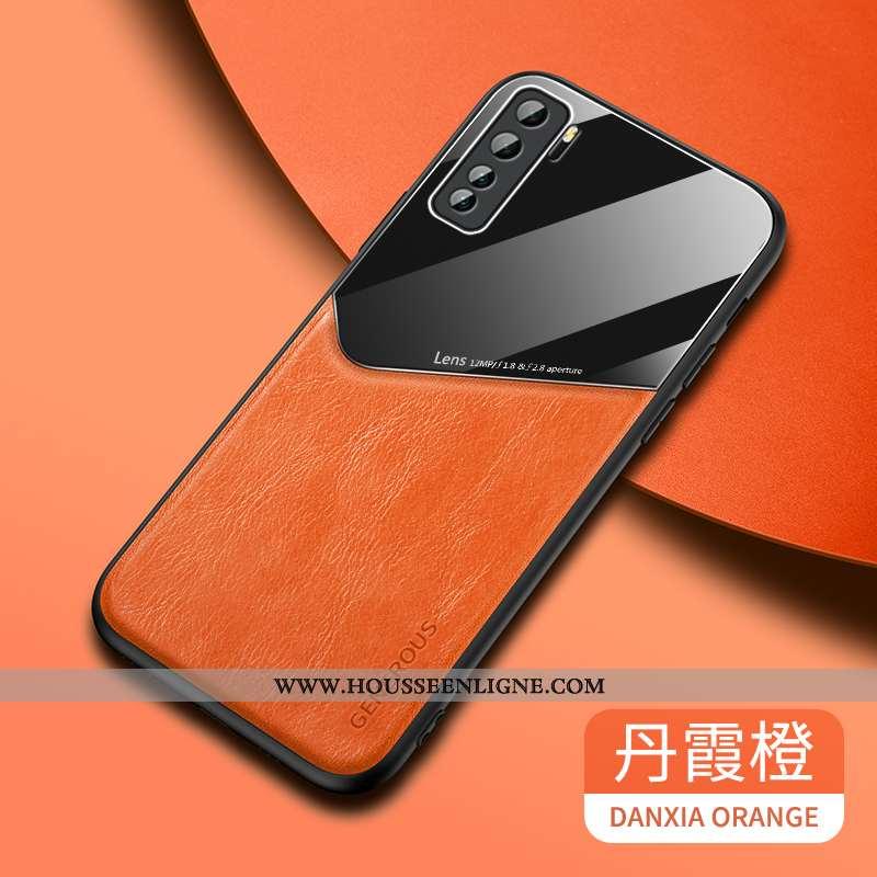 Étui Huawei P40 Lite 5g Cuir Modèle Fleurie Orange Tendance Coque Incassable