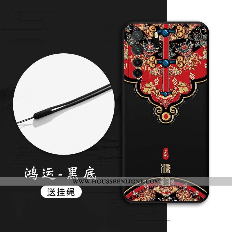 Étui Huawei P40 Lite 5g Gaufrage Tendance Tout Compris Protection Style Chinois Vent Noir