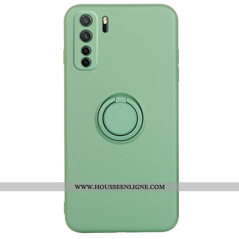 Étui Huawei P40 Lite 5g Protection Fluide Doux Silicone Anneau Vert Incassable Téléphone Portable Ve