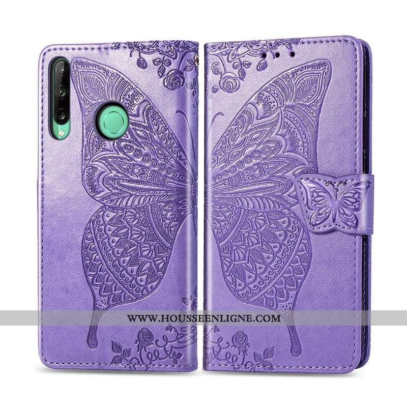Étui Huawei P40 Lite E Charmant Cuir Protection Jeunesse Papillon Ornements Suspendus Violet