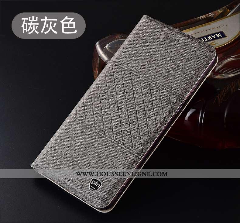 Étui Huawei P40 Lite E Cuir Protection Gris Coque Plaid Housse