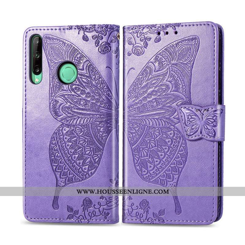 Étui Huawei P40 Lite E Cuir Protection Papillon Couleur Unie Ornements Suspendus Violet Téléphone Po