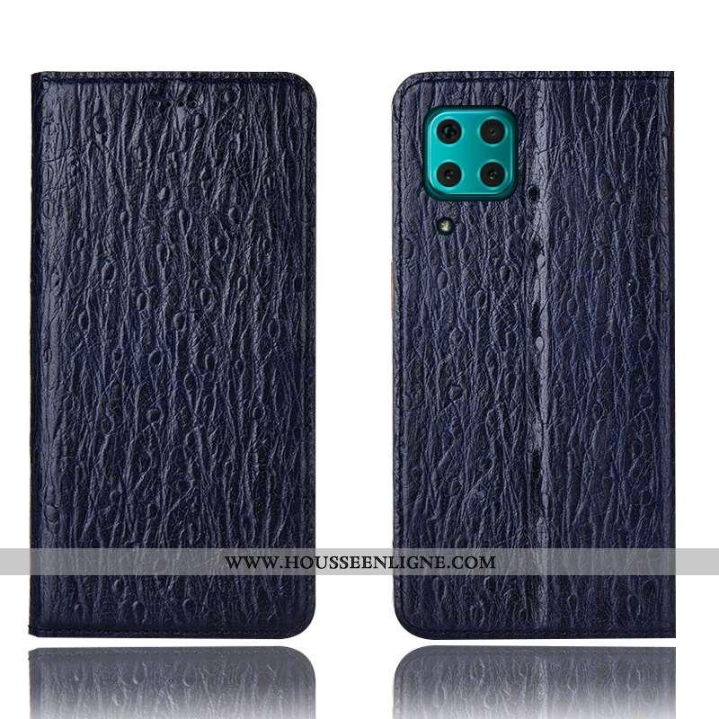 Étui Huawei P40 Lite Modèle Fleurie Protection Bleu Marin Téléphone Portable Housse Coque Bleu Foncé