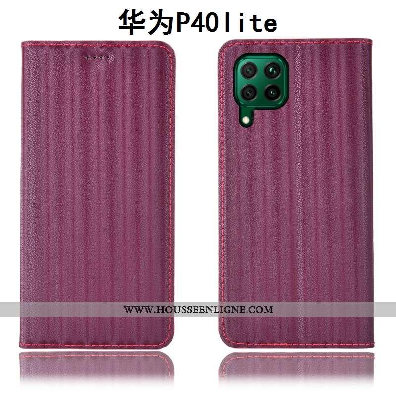 Étui Huawei P40 Lite Protection Cuir Véritable Coque Housse Tout Compris Téléphone Portable Bordeaux