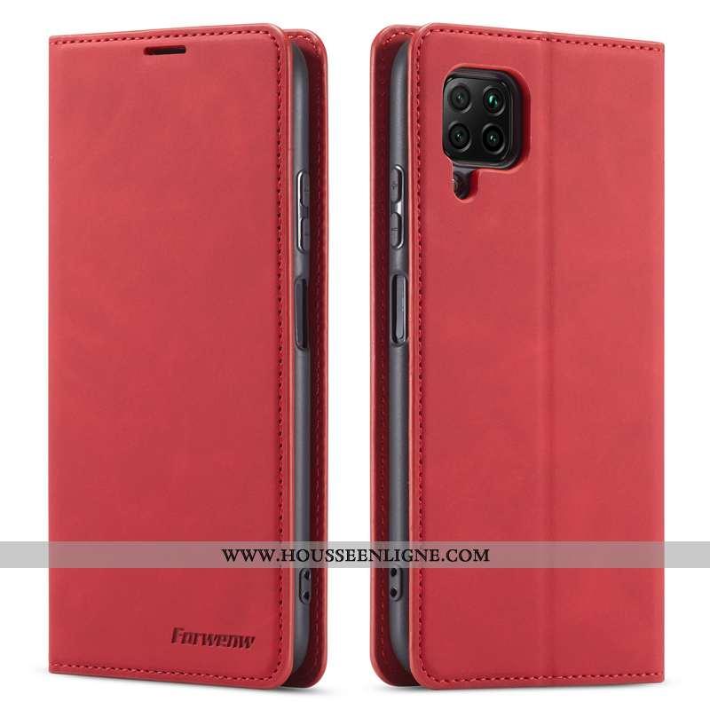 Étui Huawei P40 Lite Protection Cuir Véritable Jeunesse Business Cuir Téléphone Portable Bordeaux