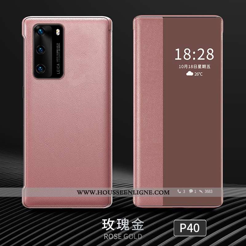 Étui Huawei P40 Personnalité Créatif Cuir Clamshell Protection Rose