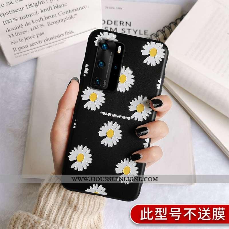 Étui Huawei P40 Pro Fluide Doux Silicone Noir Simple Incassable Amoureux Personnalité