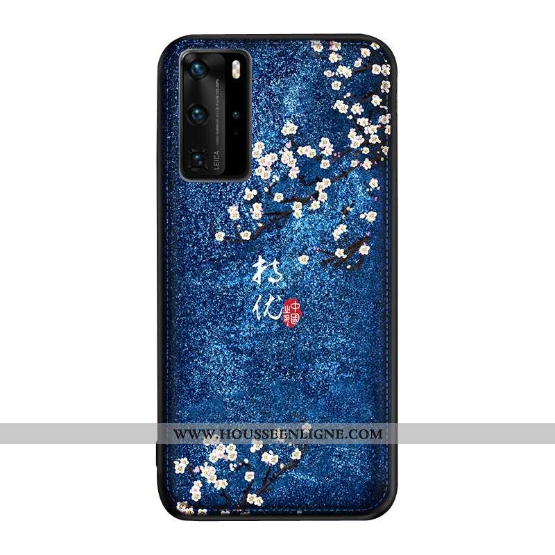 Étui Huawei P40 Pro Gaufrage Tendance Téléphone Portable Bleu Marin Style Chinois Protection Art Ble