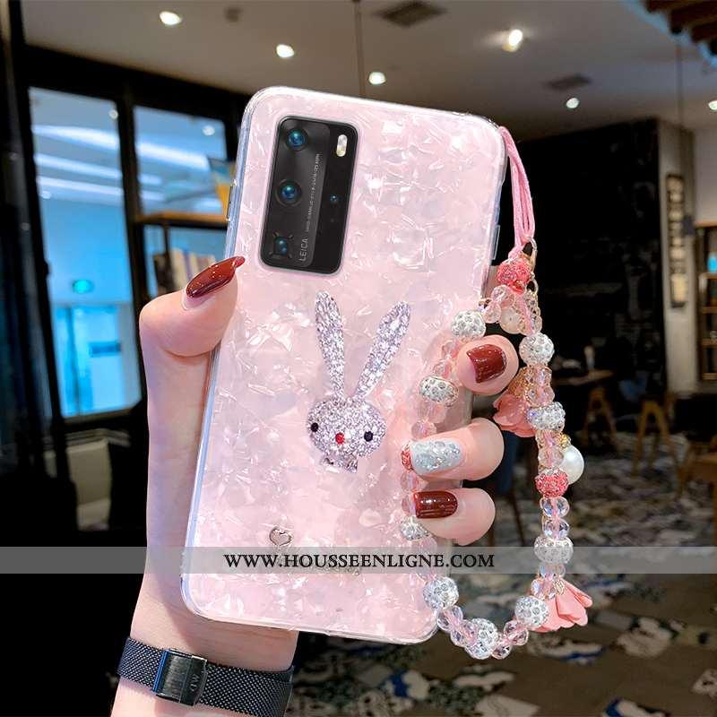 Étui Huawei P40 Pro Légère Fluide Doux Rose Incassable Coque Silicone Téléphone Portable