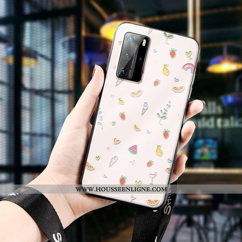 Étui Huawei P40 Pro Protection Gaufrage Ultra Fluide Doux Téléphone Portable Dessin Animé Beige