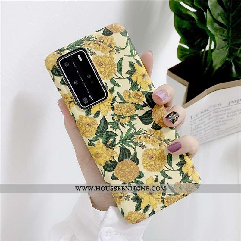 Étui Huawei P40 Pro Ultra Tendance Jaune Téléphone Portable Simple Peinture À L'huile Légère
