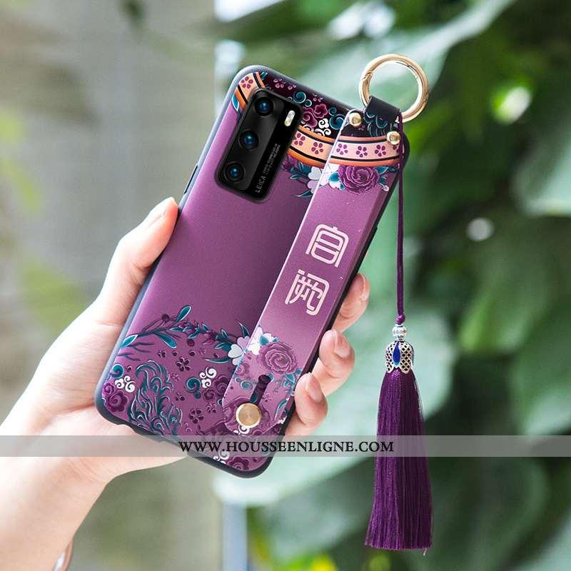 Étui Huawei P40 Protection Fluide Doux Coque Violet Téléphone Portable Incassable